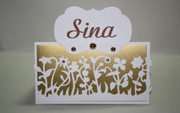 """Hochzeitsdeko - Tischkarte gold """"Blumenwiese"""" - ein Designerstück von…"""
