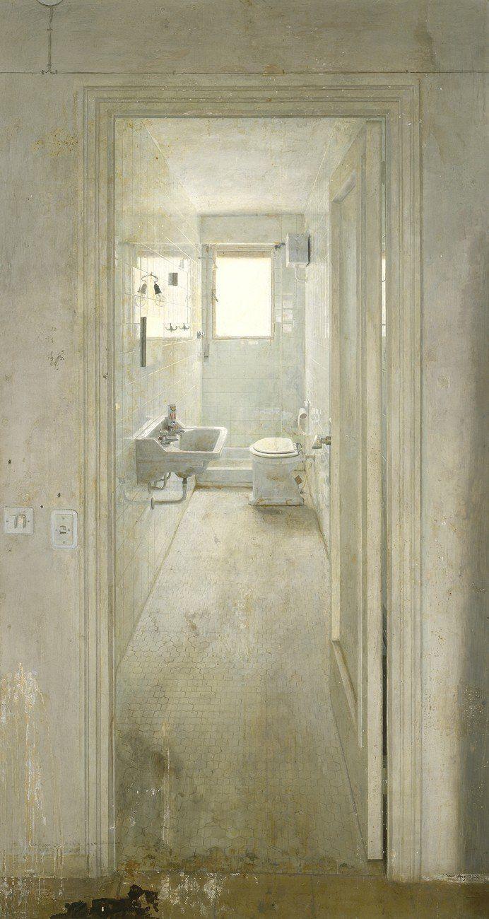 El Cuarto de Baño , The Toilet   -  Antonio López Garcia, 1966  Spanish, b.1936-  Oil on canvas,  228 x 119 cm.
