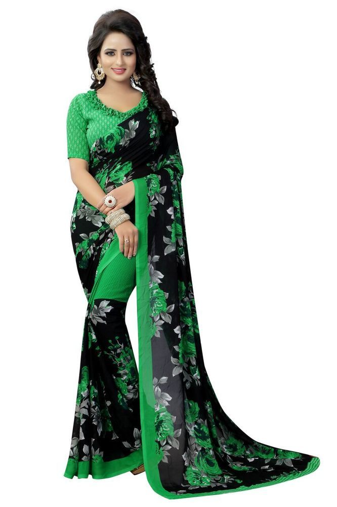 Traditional Georgette Saree Pakistani New Collection Clothing Sari Blouse Ethnic Women's Clothing Other Women's Clothing