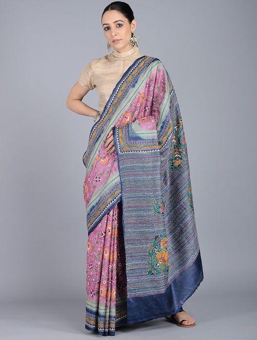 598496f88b Pink-Blue Kantha-embroidered Tussar Silk Saree in 2019 | Sari ...