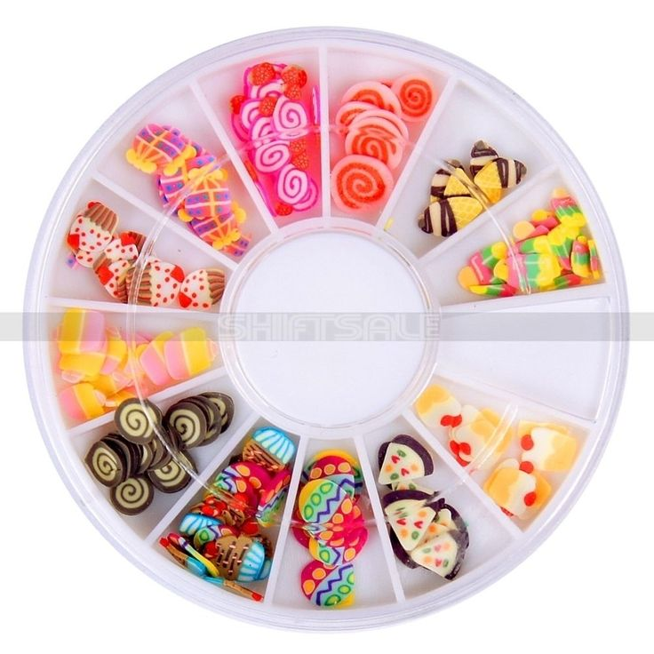 1 Box 12 Style Mini Fimo Candy Cake Fruit 3D Nail Art Decorations Mixed Color Nail Studs in Wheel Manicure Nail Tool
