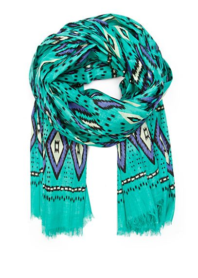 Ethnic print cotton foulard