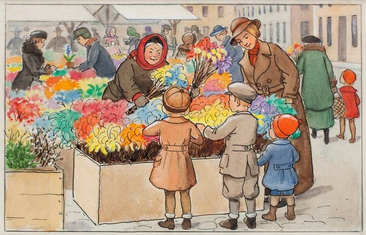 Elsa Beskow, the selling of birch tree sprigs with feathers during lent, before Easter