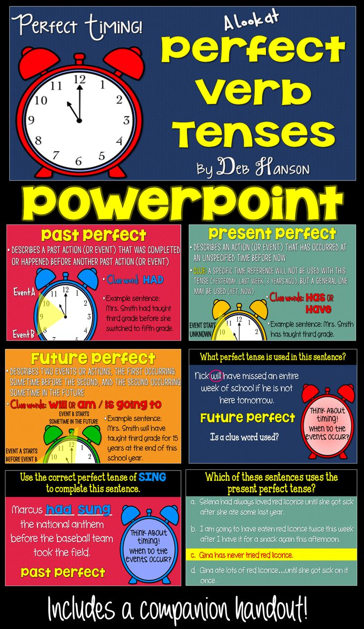 Perfect Verb Tenses PowerPoint- A perfect way to introduce past perfect, present perfect, and future perfect verb tenses to your upper elementary and middle school students!