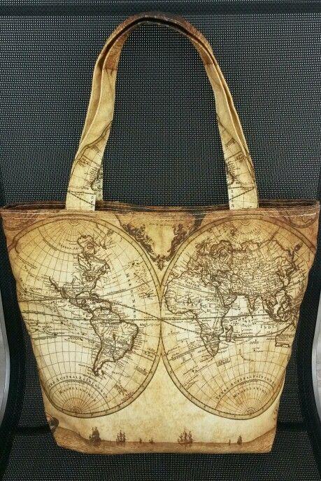 Vintage world map canvas totebag. See www.flirty-poodle.com for more details.