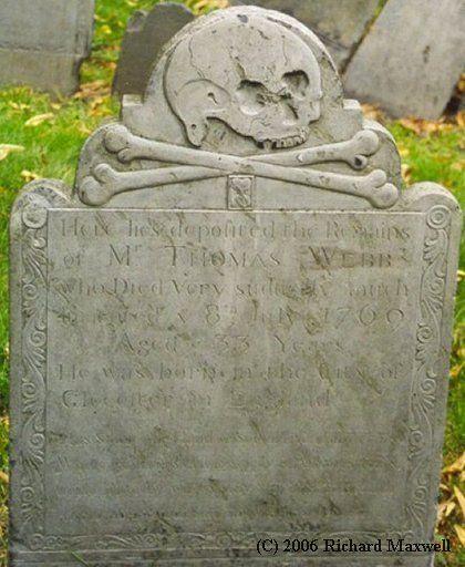 headstone in the oldest cemetery in Boston