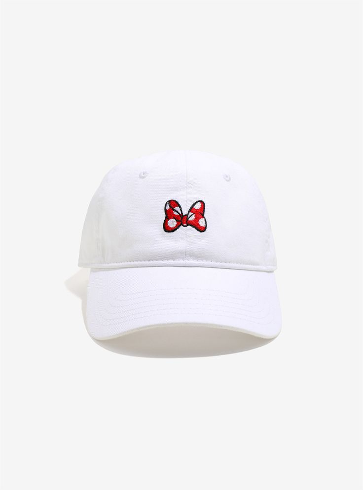 "<div><div>Minnie Mouse had her bows, you've got your hats. This is the best of both worlds. White hat with Minnie's trademark red bow on the front. </div><ul><li style=""list-style-position: inside !important; list-style-type: disc !important"">100% cotton</li><li style=""list-style-position: inside !important; list-style-type: disc !important"">Imported</li><li style=""list-..."