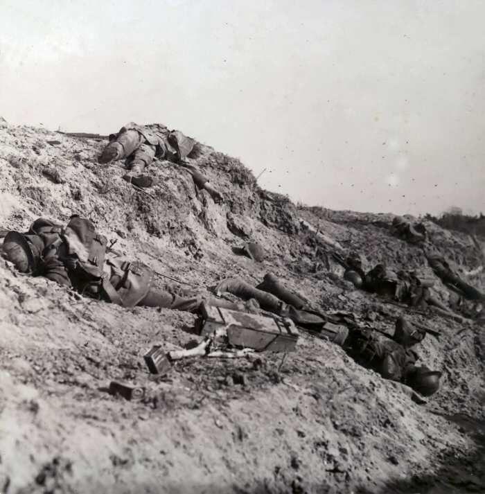 Canadian fallen at Vimy Ridge.