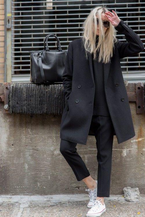 Minimal - Look - Chic - Classique - Total - Noir - Converse