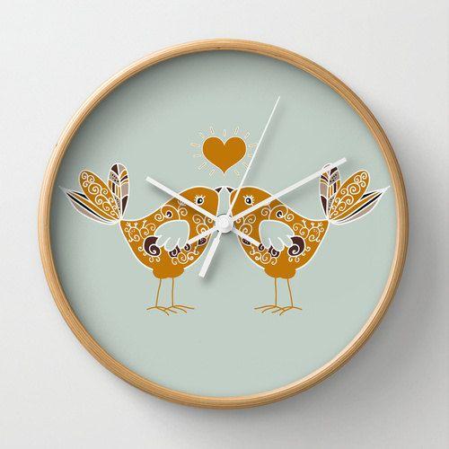 Birds in love wall clock summer colors nursery di MonochromeStudio, $40.00