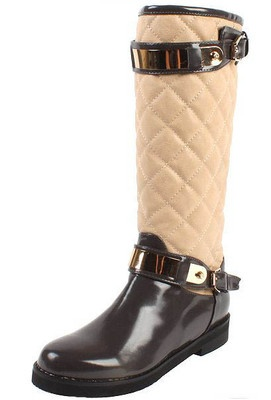 MID CALF METALLIC QUILTING RIDING BUCKLE QUILTED PADDED BOOTS FAUX LEATHER