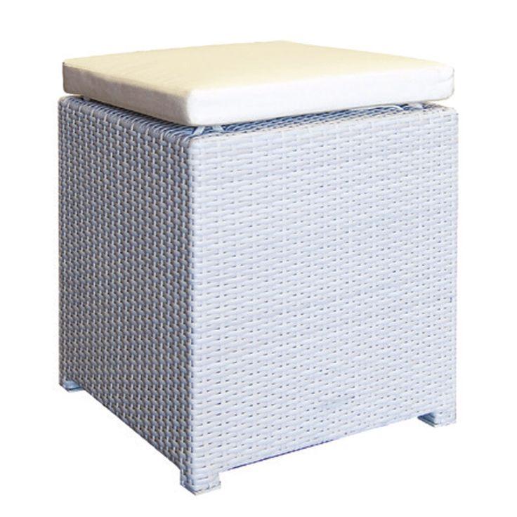 Genesis garden stool aluminum wicker ice white Ε6679.70