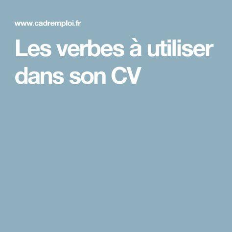 Les verbes à utiliser dans son CV