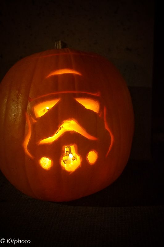 When your 4 year old demands a stormtrooper pumpkin... you freak out a little then put on your big girl panties and get to it. I think it turned out pretty good for a first time ever pumpkin carving. #Starwars #Stormtrooper #Pumpkin