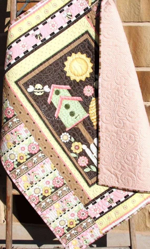 SALE Let it Bee Baby Quilt Girl Bedding by SunnysideDesigns2