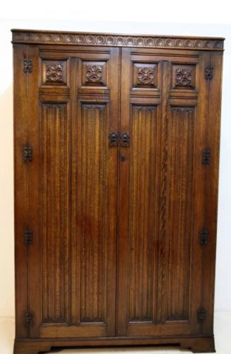 1920s Solid Oak Wardrobe Old Charm Wood Brothers Crown Ay