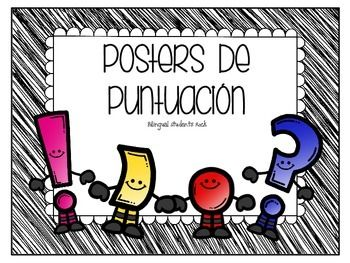 Punctuation Posters in SPANISH. This packets contains the following punctuation. A period, exclamation sign, question marsk, quotation marks, coma and colon.