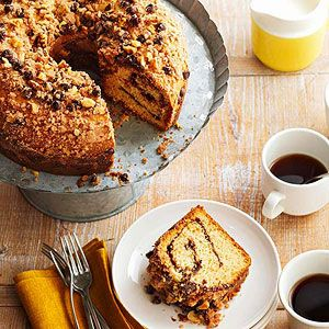 Chocolate Swirl Bundt Cake With Nutty Topping