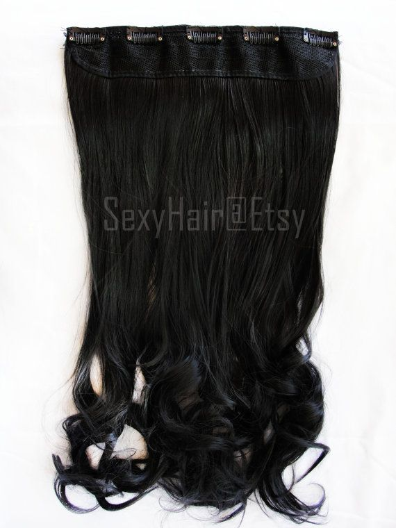"24 ""Black One Piece Multi-Weft Clip in Extension, Hair Extension, Clip On, Thick Hair, Extensions, Black Hair Extension"