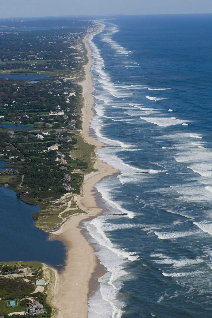 Aerial of the shoreline in East Hampton, NY. www.facebook.com/loveswish