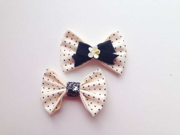 Black and white polka dot bow