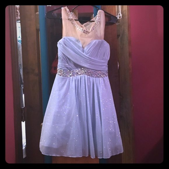 Blue ball gown dress with gemstone embellishing This is a periwinkle blue short ball gown type dress. Never worn, I bought this and my date cancelled. Brand new and very pretty! Ideal for formal and prom Dresses Mini
