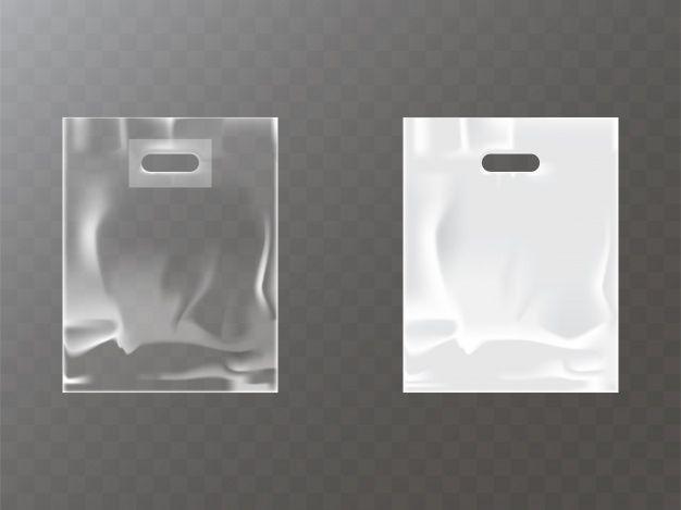 Download Free Download Transparent And White Plastic Or Foil Bag With Hang Hole Vector Free Bag Mockup Plastic Bag Design