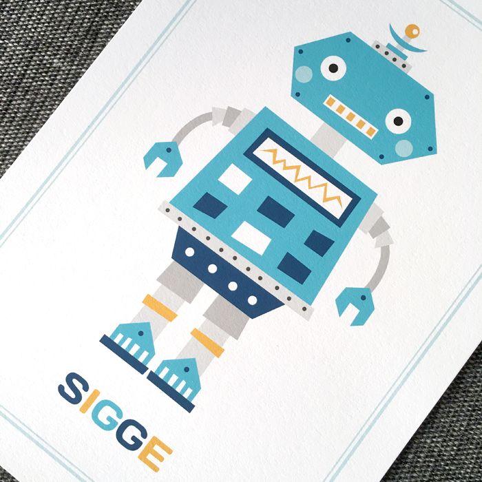 Barntavla med blå, retro robot och personligt anpassat namn. Väggdekor för barnrum. Inredning barn. Barnrumsinspiration.