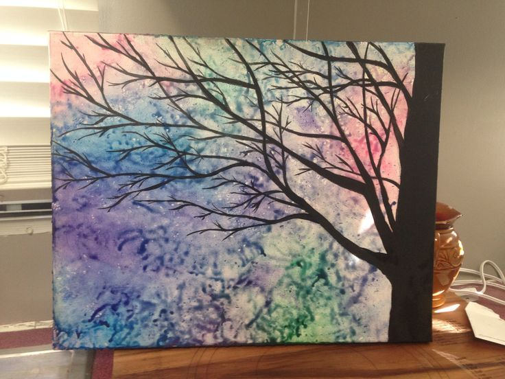 Melted crayon art with a tree silhouette painted on top... I can sell this to anyone. It can be customized any way that you would like.
