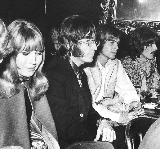 18th January 1968. John, Cynthia, Tony Bramwell and George  at the Revolution club at 14-16 Bruton Place in London's Mayfair where Pattie modelling some of the the designs, including African Queen and Powder Puff