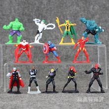 12 unids los vengadores 2 capitán américa iron man spider-man superman batman 5-6 cm decoración de pasteles herramientas de la torta de accesorios q versión(China (Mainland))