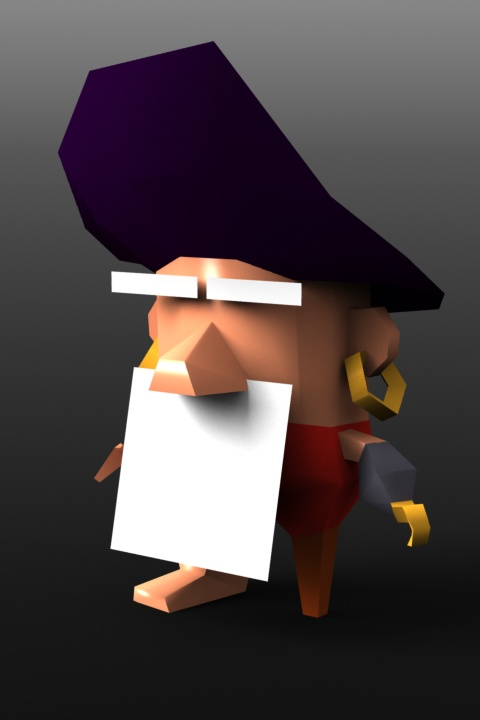 """Captain Clumsy"" iOS game: the Captain's 3D model in its infancy  http://cuteattack.com/games/"