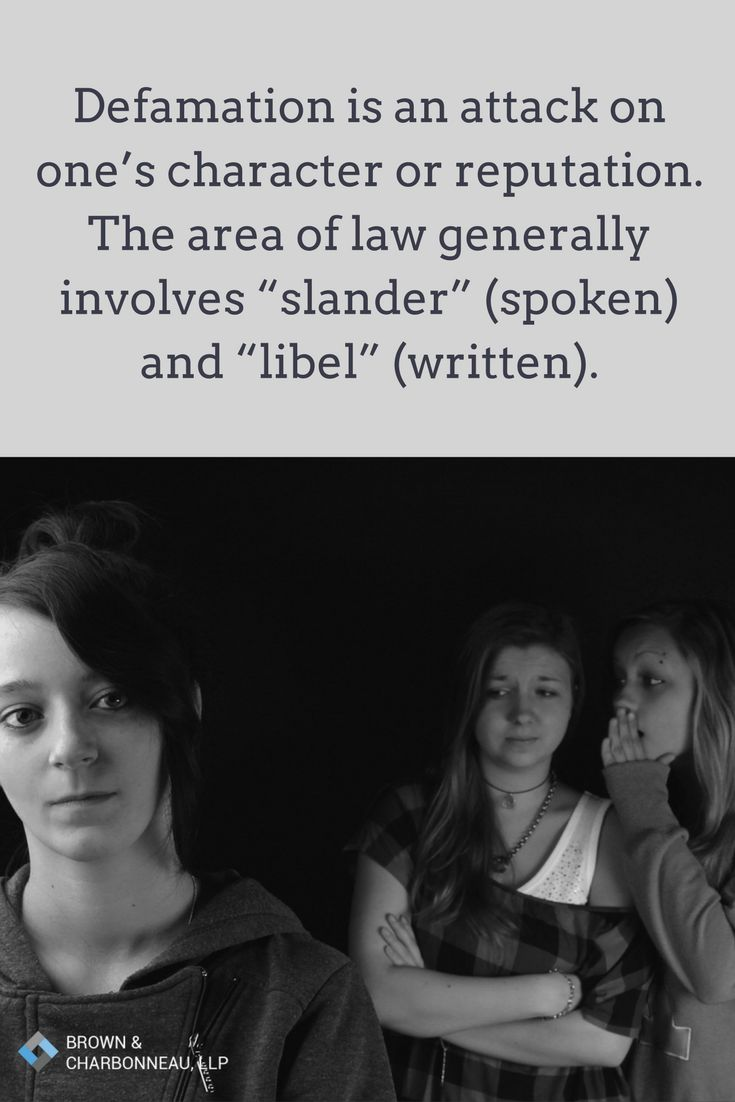 """Defamation is an attack on one's character or reputation. The area of law generally involves """"slander"""" (spoken) and """"libel"""" (written)."""