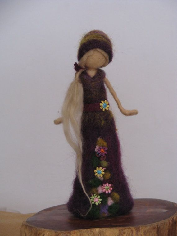 Needle felted doll Waldorf inspired doll in purple dress