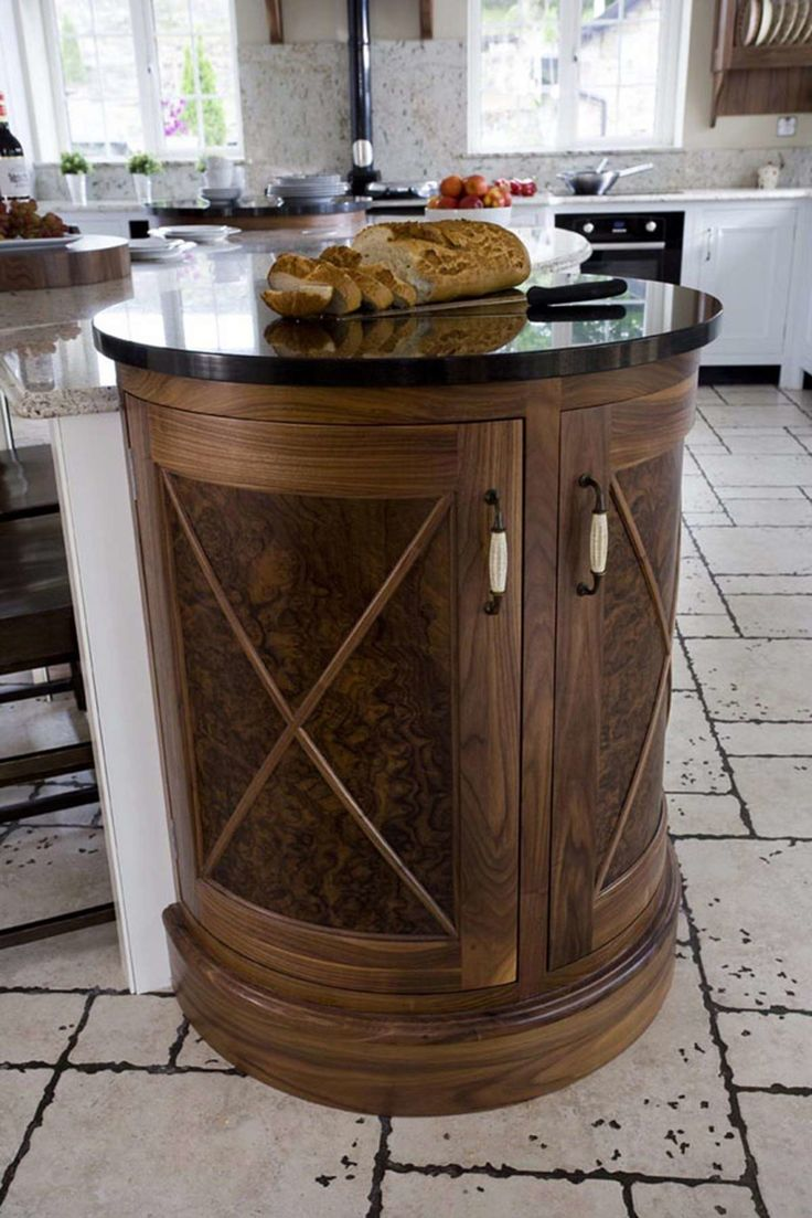 Beautiful Kitchen Design with Marble and Natural Wood : Black Round Glass With Knife And Bread In Contemporary Kitchen