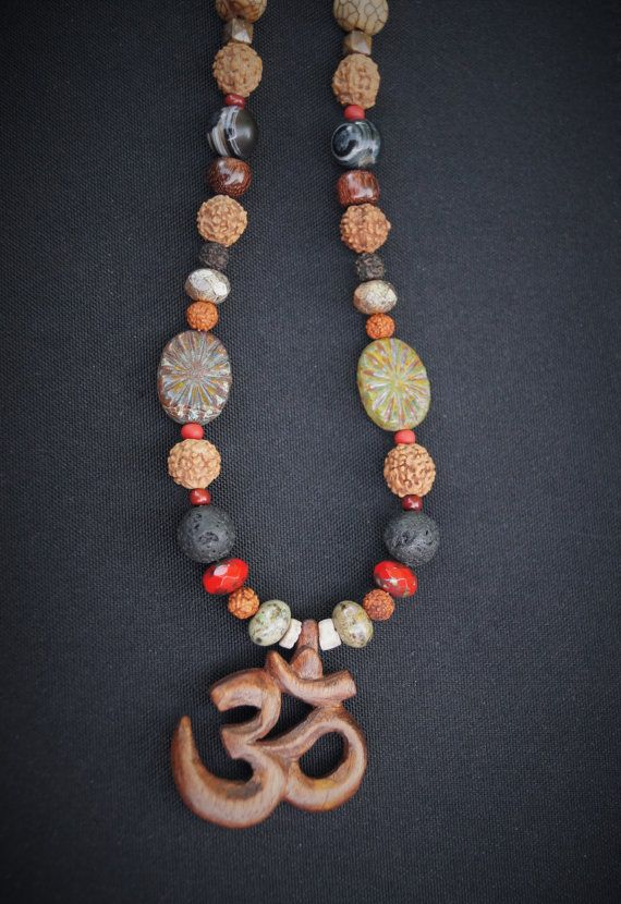 Om necklace  wood carved Om  rudraksha seed  Red by SumertaDesigns