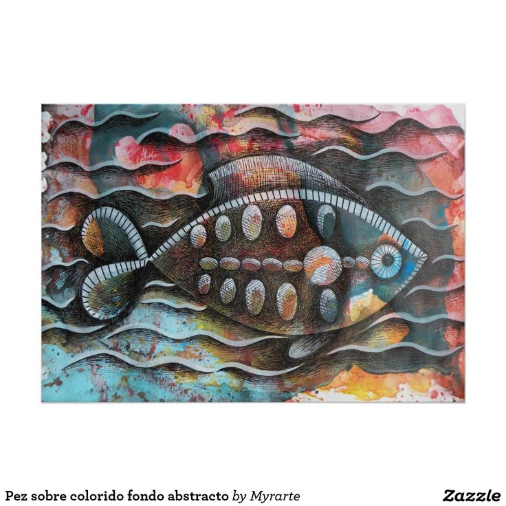 Pez sobre colorido fondo abstracto. Regalos, Gifts. #poster