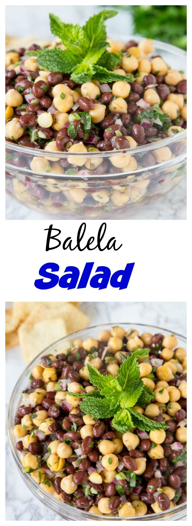 Balela Salad (Mediterranean Chickpea Salad) – a Mediterranean salad made with chickpeas, black beans, lots of fresh herbs and lemon juice. Super healthy and great as a dip or side dish.