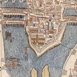 Map of Paris Circa 1550   Old Maps of Paris Detail of Île de la Cité, Le Marais, and Quartier Latin from a map of Paris, 1550 (x)