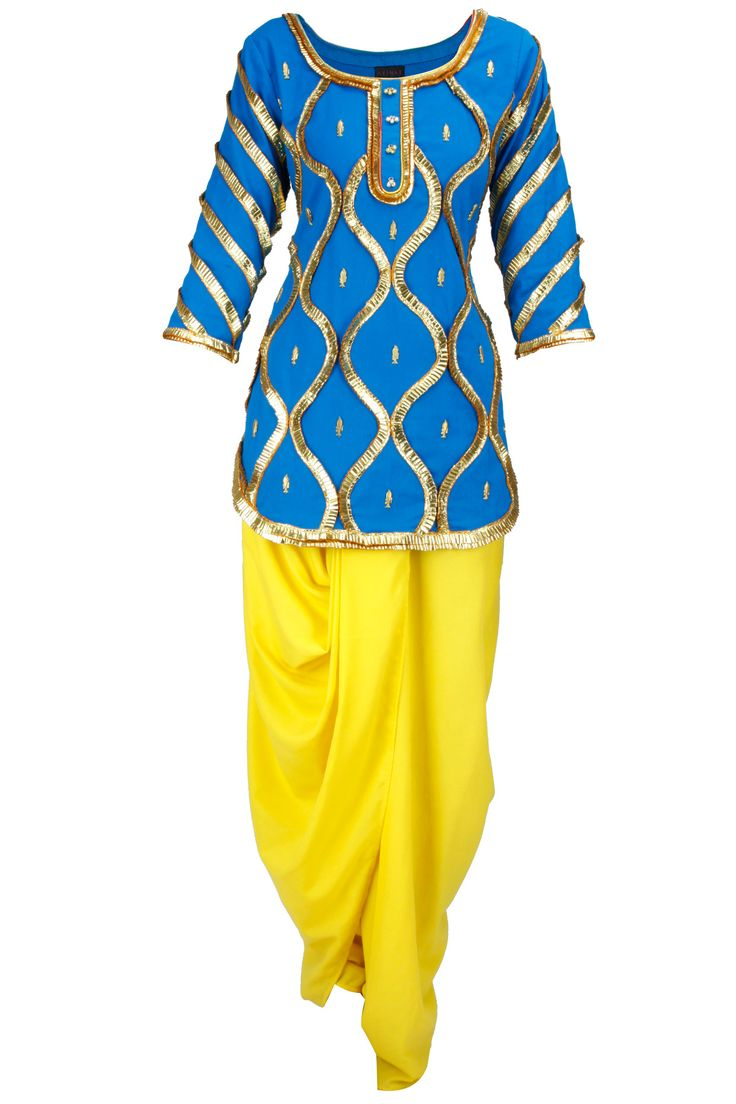 Fish jaal kurti with dhoti BY AYINAT BY TANIYA O'CONNOR. Shop now at: http://www.perniaspopupshop.com/ #perniaspopupshop #blueandyellow #fishjaal #kurti #dhotisalwaar #label #love #designer #Ayinat #TaniyaO'Connor #fashion #style #Indian #chic #trendy #gotapleating #happyshopping