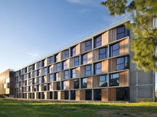 Green Star rated uni student accomodation at Monash Uni is a fantastic example of what can be done with some focus.  Good on you Monash and congrads to the architects/builders for such a nice job! University digs go green