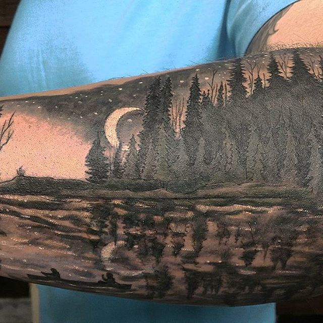 Canoeing at dusk, tattooed by Airynn  #wickedgoodink #oldport #portlandmaine #Maine#tattoo#tattoos #tattooed#ink#inked#canoe #moon#art#fun#color#love#nopainnogain #thatjusthappened #getsome