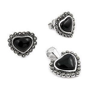 Sterling Silver Marcasite and Onyx Heart Set West Coast Jewelry. $22.95