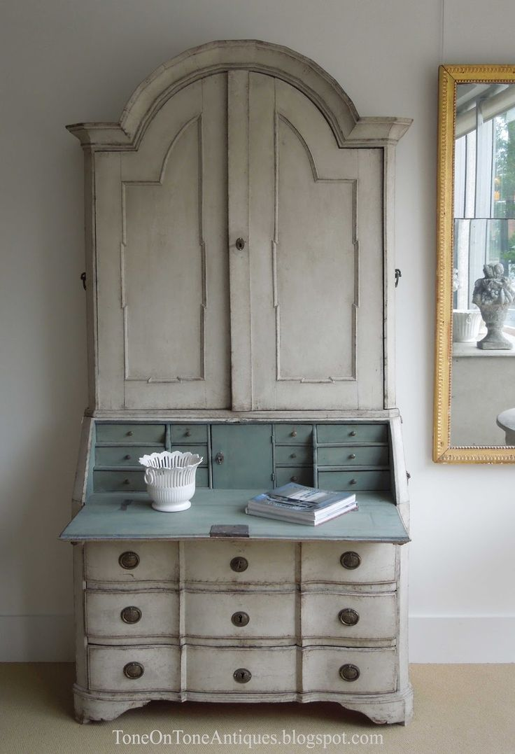 tone on tone a shipment of gustavian furniture a lovely bone colored secretary with iron drawer pulls and a pale blue interior