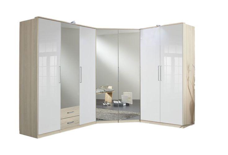 Details about german 7 door white gloss mirror oak for 1 door corner wardrobe