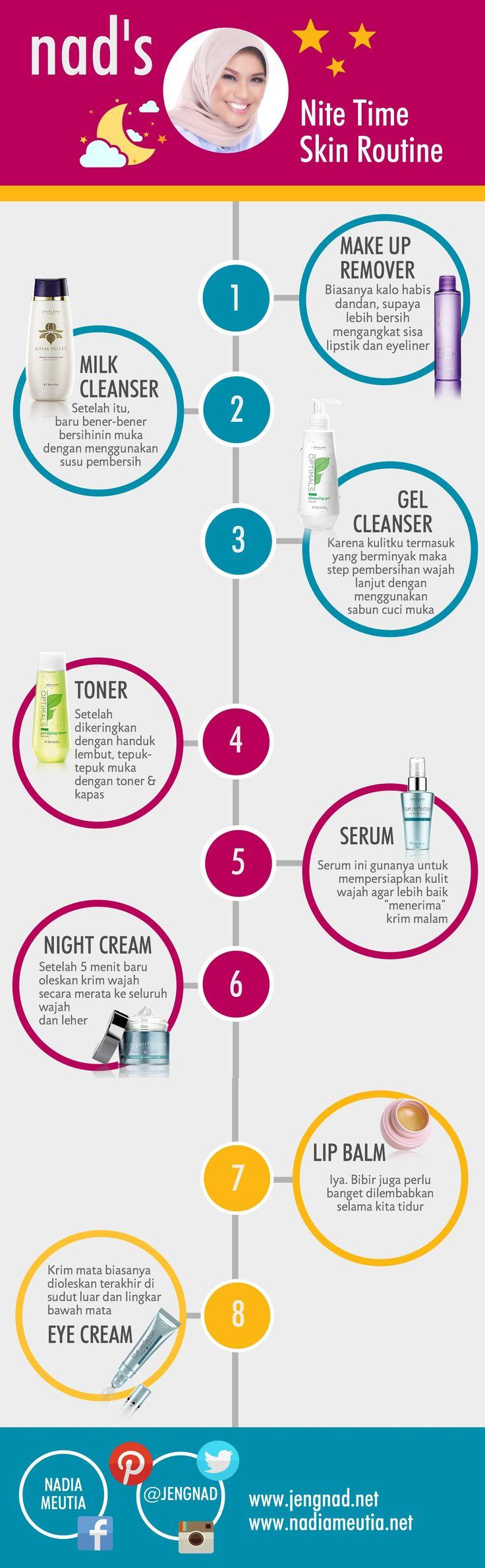 Step by Step Membersihkan dan Merawat Wajah Menggunakan Produk Oriflame Untuk Malam Hari