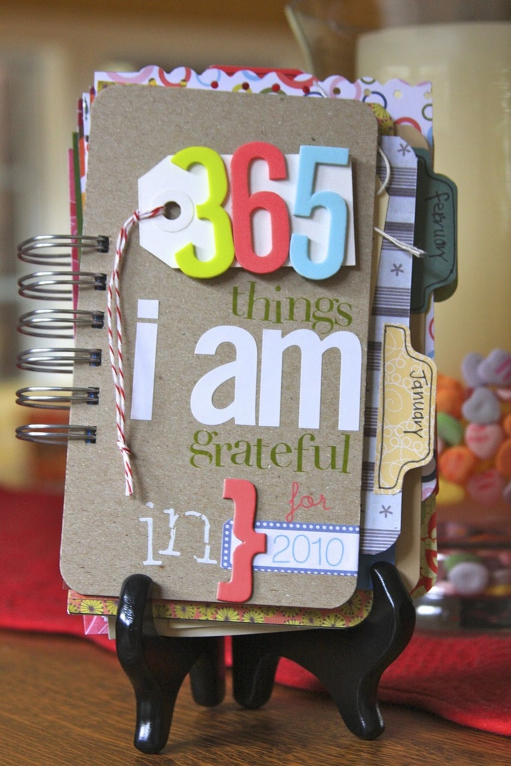 I love the 365 days of thankfulness book.  Could do this with a planner instead and insert photos, or other items to go along with the thankful pick of the day...