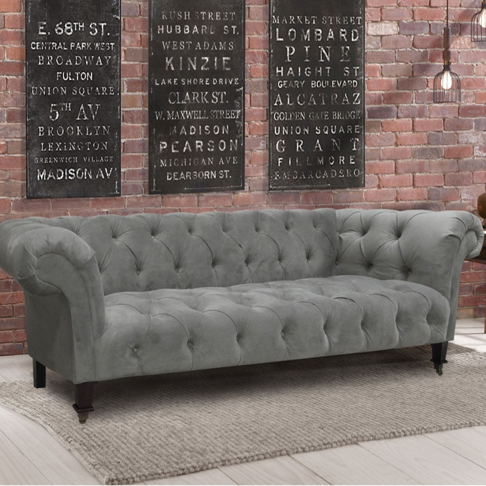 Chesterfield Velvet Sofa, with some big oversize pillows for napping and some fun decorative pillows