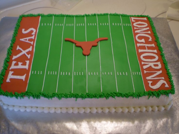 Texas Longhorns Groom's Cake - Fondant field with royal icing Texas & Longhorns, everything else is buttercream.
