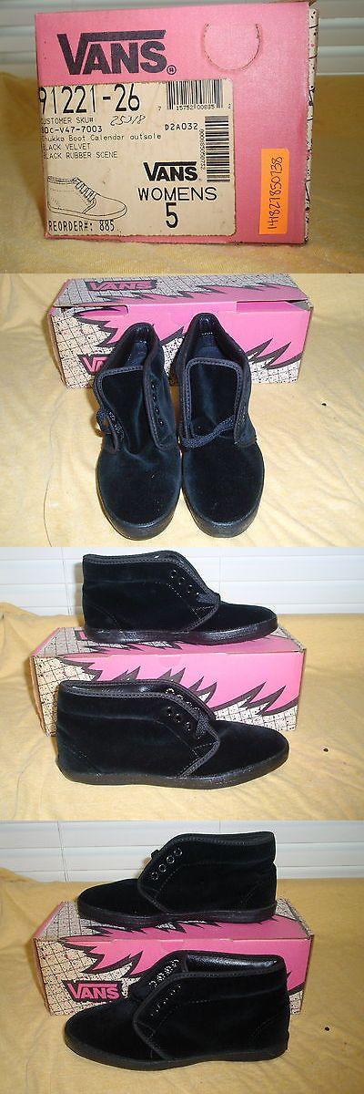 Women 159071: Nos Vintage 1990 Vans Chukka Boot Blk Velvet Wmns Sz 5 Sk8 Skateboard Bmx Shoes BUY IT NOW ONLY: $120.0